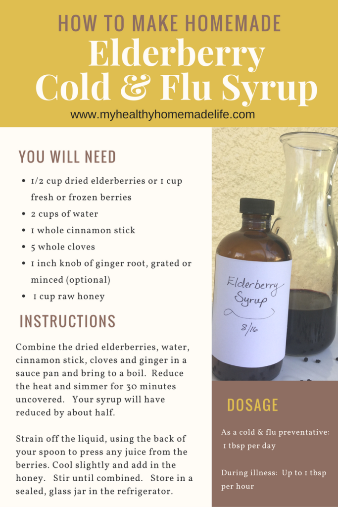 How to make Homemade Elderberry Cold & Flu Syrup -- My Healthy Homemade Life