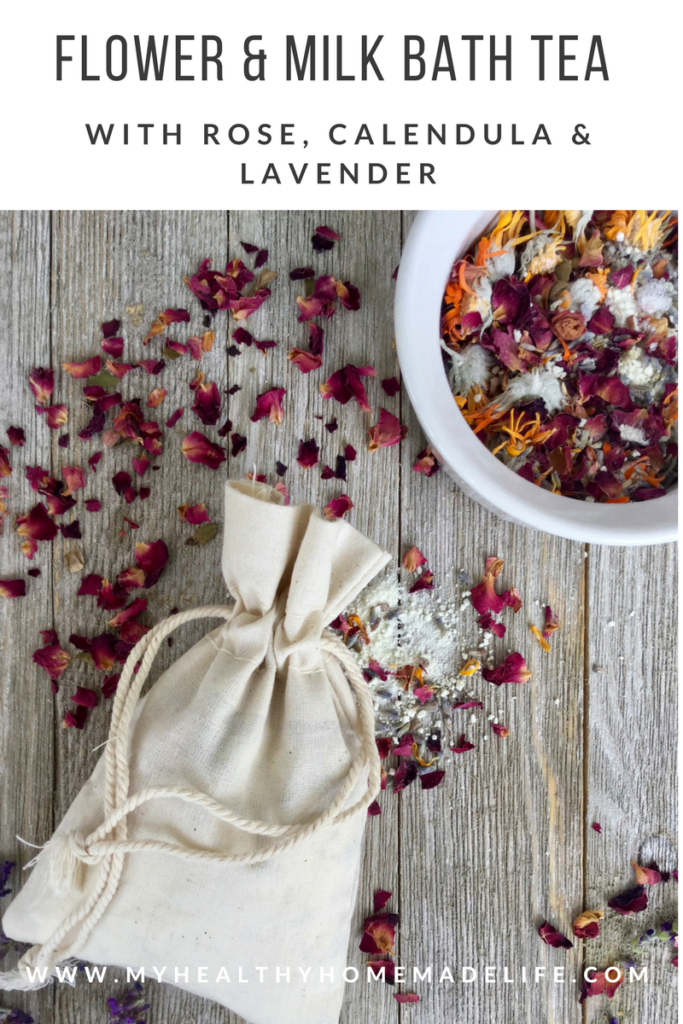 Relaxing Flower and Milk Bath Tea | Herbal DIY | Healthy Recipes | Self Care | Gift Ideas | Homemade Gifts | Bath Salts | My Healthy Homemade Life